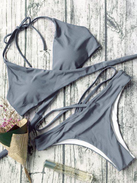 Halter Neck Strappy Wrap Bikini Set - GRAY M
