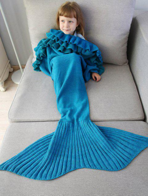Ruffles Knit Mermaid Blanket Throw For Kids - BLUE