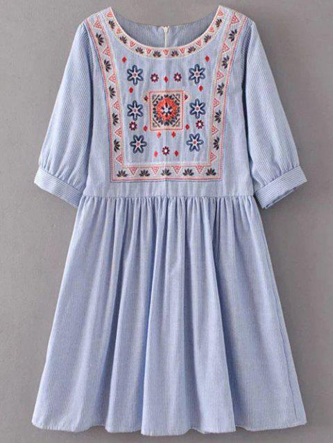 Striped Embroidered Mini Dress - LIGHT BLUE M