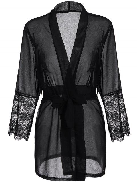 Long Sleeve Lace Panel Sheer Wrap Robe - BLACK M