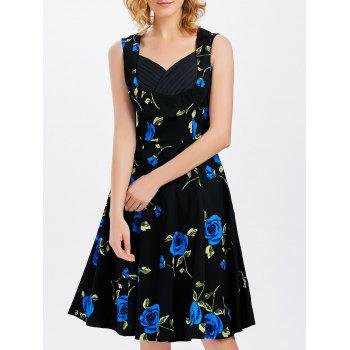 Sleeveless Floral Printed Swing Dress