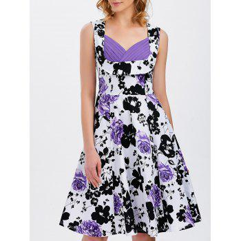 Vest Floral Printed Midi Swing Party Dress