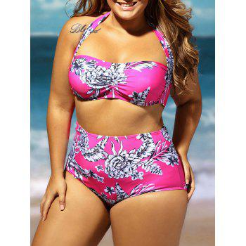 Plus Size Floral High Waisted Bandeau Bikini Set
