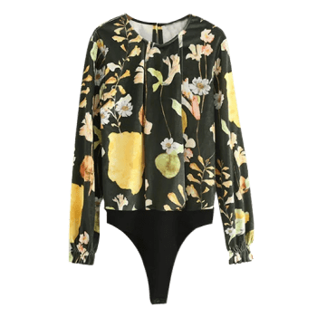 Floral Long Sleeve Velvet Bodysuit Top