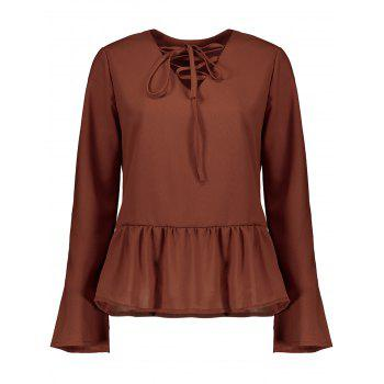 Flare Sleeve Lace Up Peplum Top