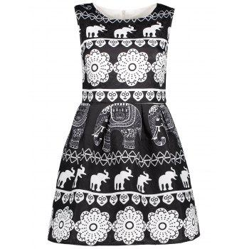 Elephant Print A Line Sleeveless Dress
