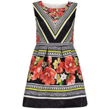 Floral Color Block A Line Sleeveless Dress