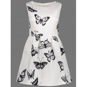 Butterfly Print A Line Sleeveless Dress