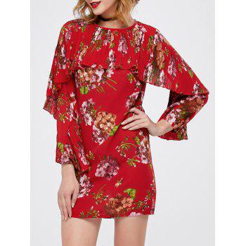 Floral Print Flounce Pleated Dress
