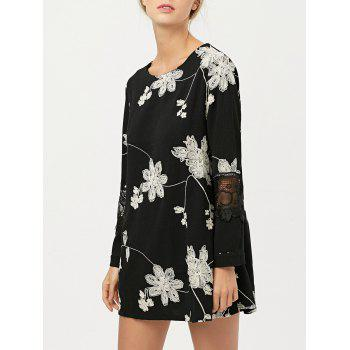 Floral Embroidered Lace Panel Short Chiffon Shift Dress with Sleeves