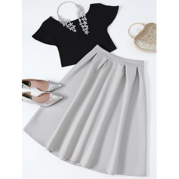 Boat Neck Cropped Tee and Midi Skirt