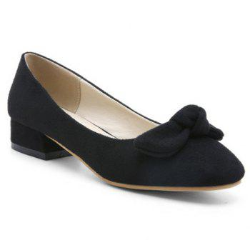 Bow Suede Flat Shoes - BLACK 39