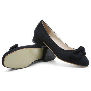 Bow Suede Flat Shoes - 39 39