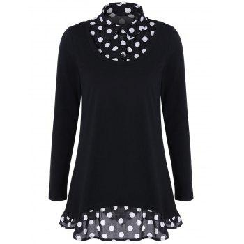 Polka Dot Tunic Ruffled T-Shirt