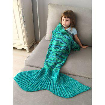 Creek Stripe Crochet Knit Mermaid Blanket Throw For Kids