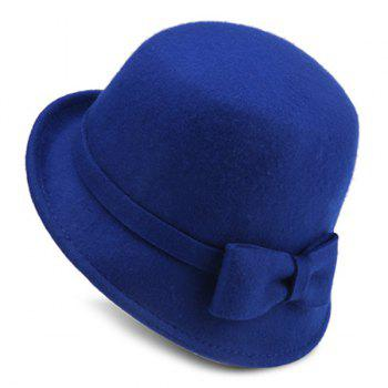 Plain Bowknot Strappy Flanging Felt Fedora Hat