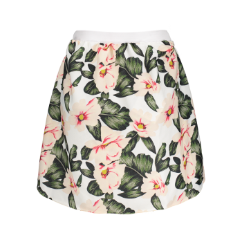 A-Line Floral High Waisted Mini Skirt