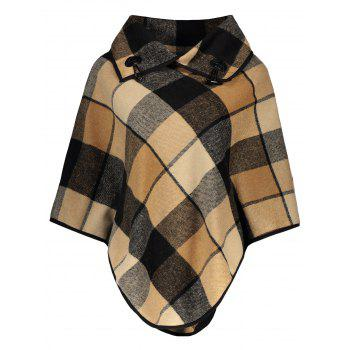 Plaid Asymmetrical Pullover Cape