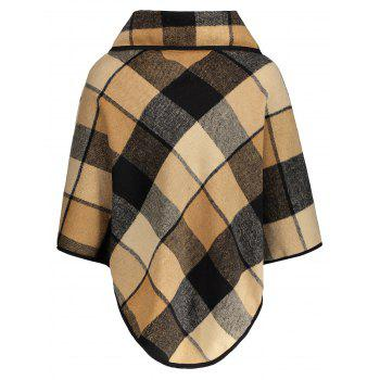 Plaid Asymmetrical Pullover Cape - PLAID L