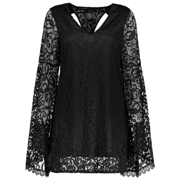 Bell Sleeve Plunge Neck Cut Out  Lace Dress