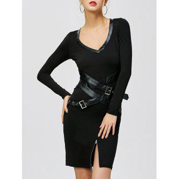 Slit Belted Midi Bodycon Party Dress