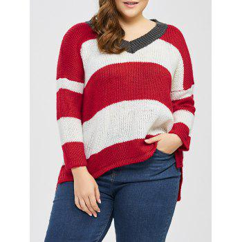 Buy Plus Size Striped Drop Shoulder Sweater RED