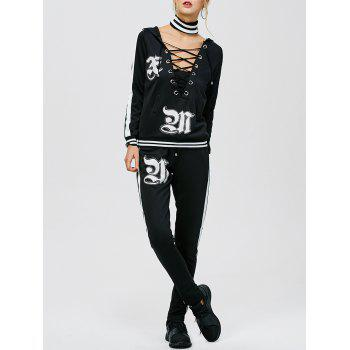 Hooded Lace-Up Patch Design Sweat Suit