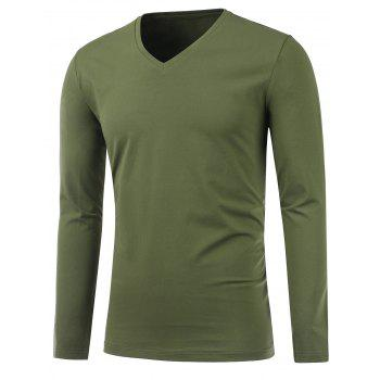 Slim Fit Long Sleeve V Neck Tee