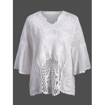 Flower Embroidered Openwork Cover Up