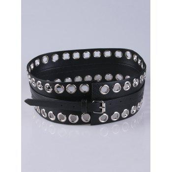 Hollow Studs Extra Wide PU Leather Belt