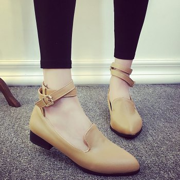 Ankle Strap Faux Leather Flat Shoes