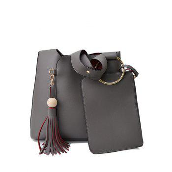 Tassel Wide Strap Shoulder Bag With Wristlet