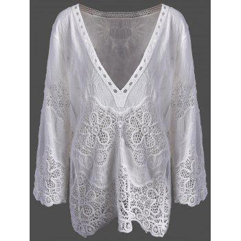 Lace Crochet Plunge Cover Up Top
