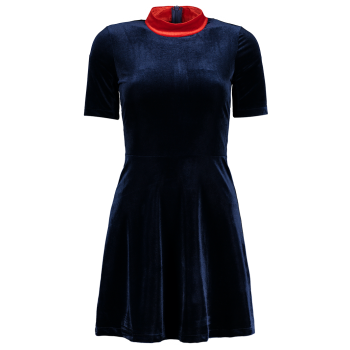 Mock Neck Velvet Skater Dress