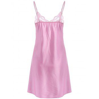 Lace Insert Stain Spaghetti Strap Asymmetric Babydoll - SHALLOW PINK 2XL