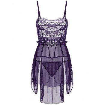 Sheer Lace Tulle Slit Babydoll