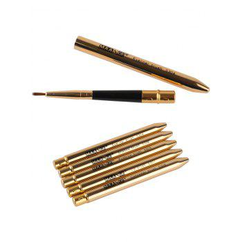 5 Pcs Portable Covered Makeup Brushes Set - GOLDEN