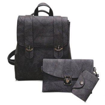 Faux Leather Flapped Backpack Set