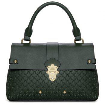 Flapped Textured Faux Leather Handbag