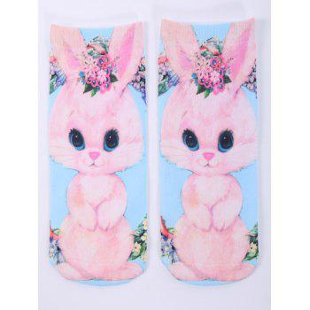 3D Cartoon Rabbit One Side Print Crazy Ankle Socks