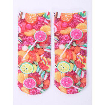 3D Fruit Candy One Side Print Crazy Ankle Socks - COLORFUL COLORFUL