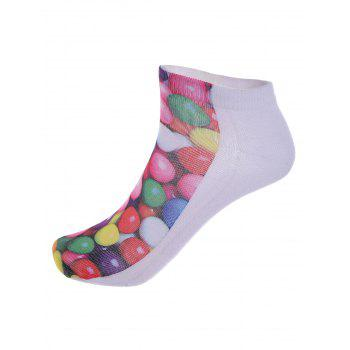 3D Round Sweets One Side Print Crazy Ankle Socks -  COLORFUL