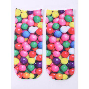 3D Round Sweets One Side Print Crazy Ankle Socks - COLORFUL COLORFUL