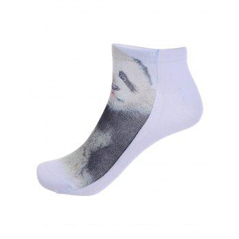 3D Panda Baby One Side Print Crazy Ankle Socks -  WHITE