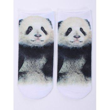 3D Panda Baby One Side Print Crazy Ankle Socks - WHITE WHITE