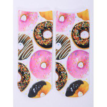 3D Donuts One Side Print Crazy Ankle Socks - WHITE WHITE