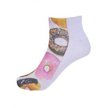 3D Donuts One Side Print Crazy Ankle Socks -  WHITE