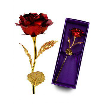 Birthday Gift Gold Plated Rose Flower - RED RED