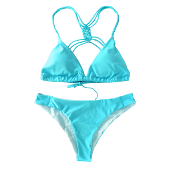 Cami Strappy Crosscriss Bikini Set - BLUE M