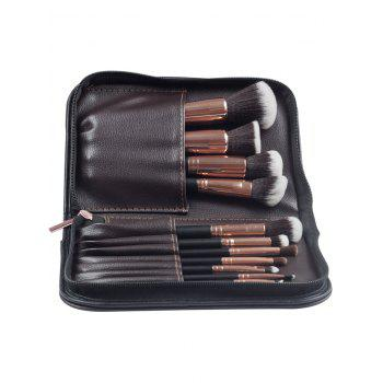 11 Pcs Makeup Brushes Set With Brush Bag -  DEEP BROWN